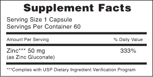 Supplements Facts 50 mg zinc